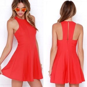 Lulu's | Flare Grounds Coral Red Dress